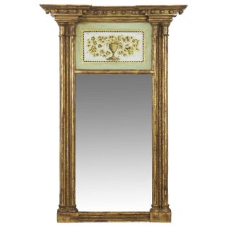American Federal Giltwood Painted Pier Console Antique Mirror, 19th Century For Sale