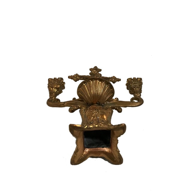 Early 20th Century Vintage Brass Holy Water Font Candelabra For Sale - Image 5 of 7
