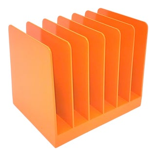 Mid-Century Orange Plastic Office File Mail Slot Organizer For Sale