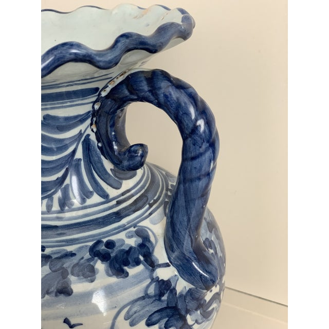 Ceramic 20th Century Glazed Earthenware Spanish Blue and White Painted Urn, Vase For Sale - Image 7 of 13