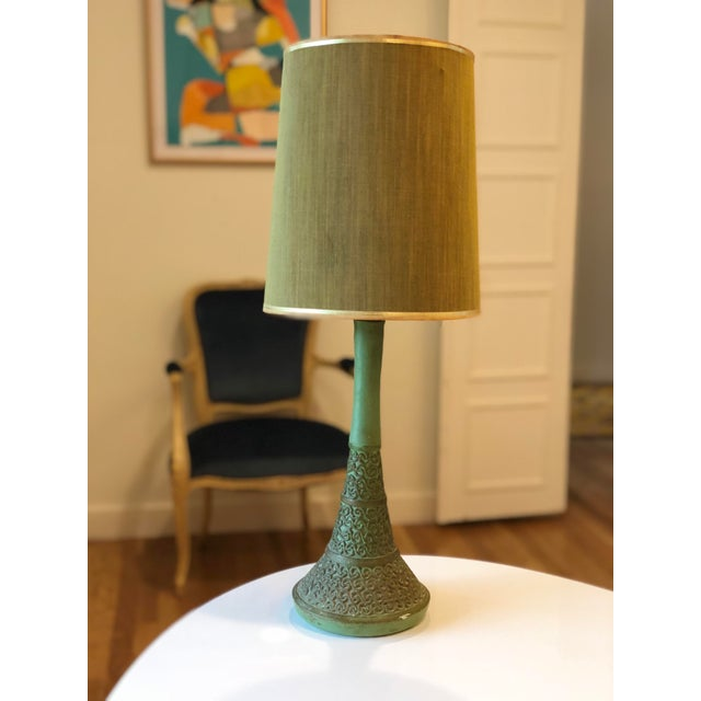 Darling ceramic plasto lamp with spiral detailing and original olive silk shade, a few nicks, and paint splatters, in good...