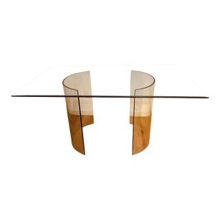 1970s Modern Minimalist Leon Rosen for Pace Glass and Brass Desk Conference Dining Table For Sale