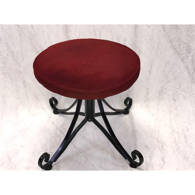 Black 1960s Vintage Wrought Iron Swivel Stool For Sale - Image 8 of 8