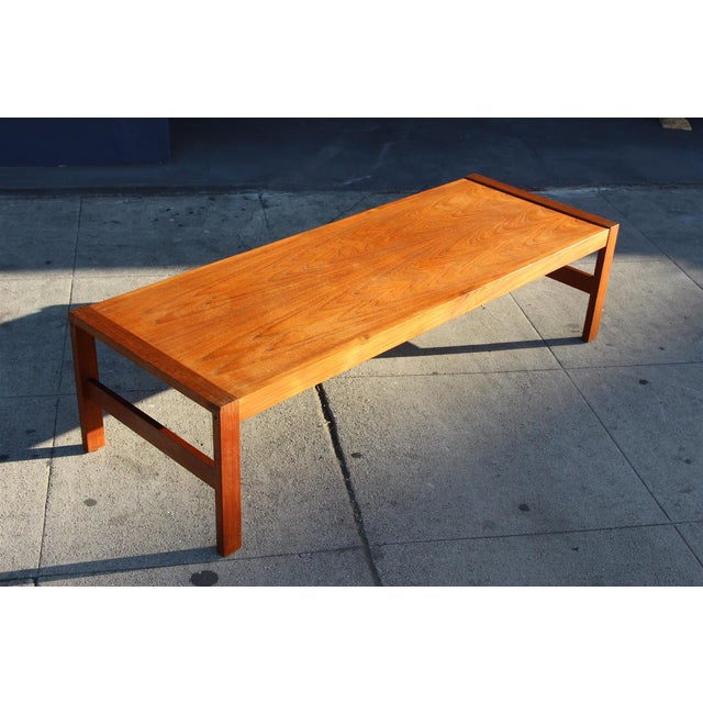 Long Rectangular Cocktail Table in Solid Teak For Sale - Image 10 of 11