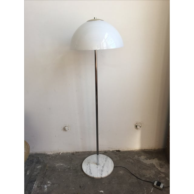 Chrome Floor Lamp with White Glass Mushroom Shade - Image 8 of 10