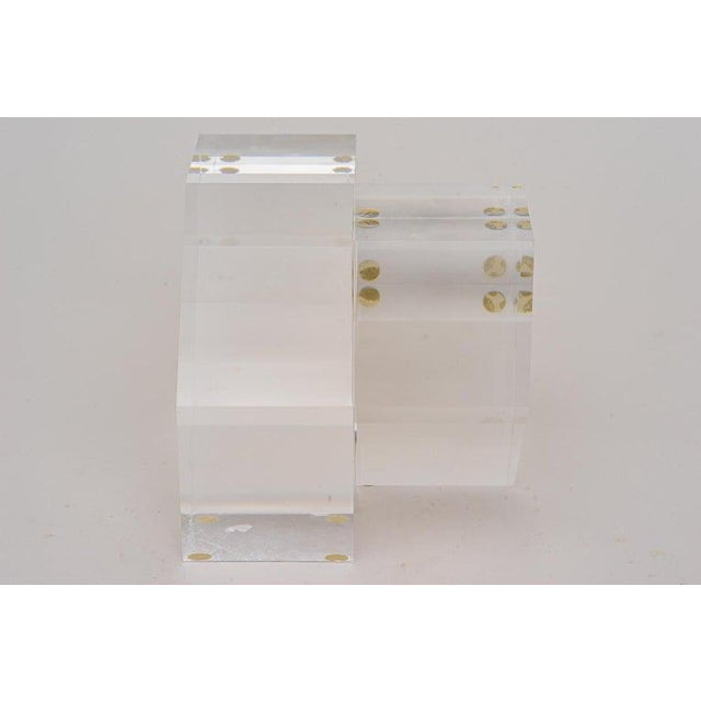 1980s Geometric Form Lucite Sculpture For Sale - Image 5 of 11