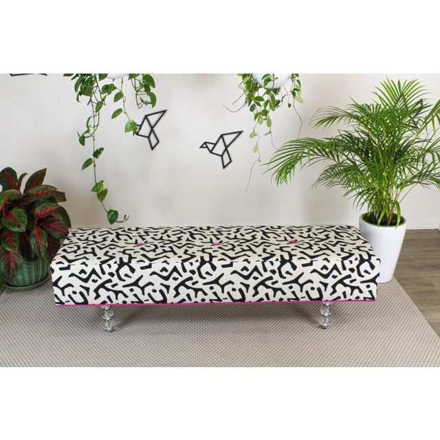 Contemporary Black & White Ottoman on Glass Legs, Black & White Bench For Sale - Image 3 of 10
