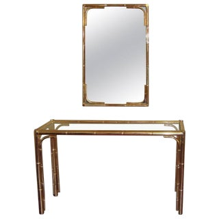 Bagues Style Bamboo Mirror and Console Table For Sale