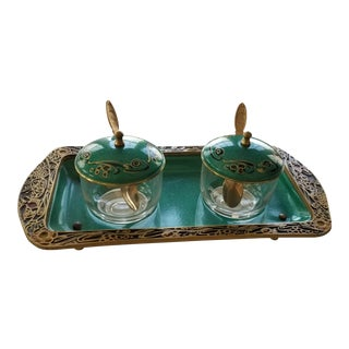 Cloisonne Enamel Condiment Jars & Tray - Set of 3 For Sale