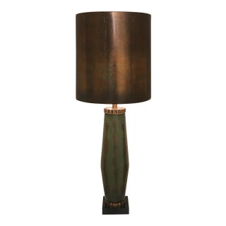 "Monumental 50"" Italian Modern Painted Green Glass Lamp For Sale"