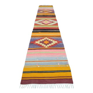 Mid 20th Century Turkish Kilim Runner-2′ × 9′5″ For Sale