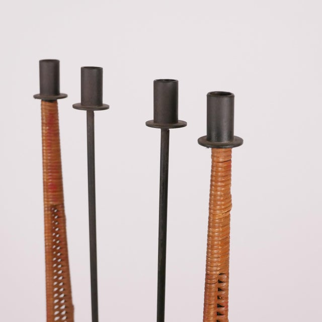Wrought Iron and Cane Mid-Century Modern Candelabra Torchère by Arthur Umanoff For Sale In New York - Image 6 of 8