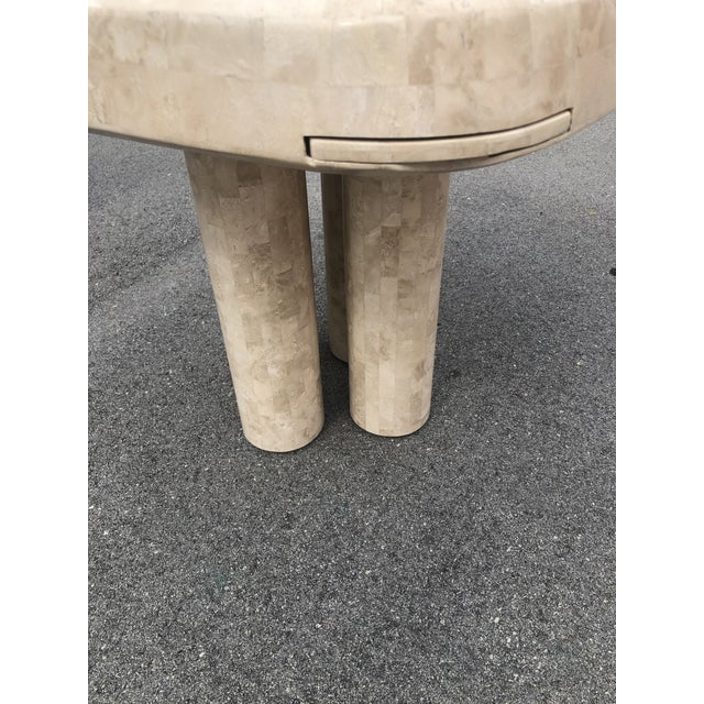 Stone Post Modern Tessellated Fossilized Marble Game Table For Sale - Image 7 of 12