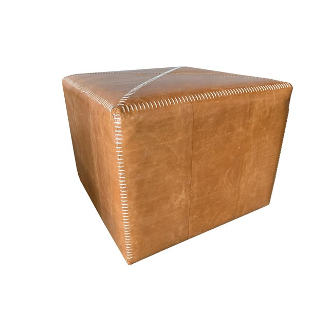 Jamie Young 21st Century Buff Leather Ottoman For Sale - Image 4 of 4