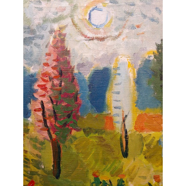 1960s Abbott Pattison -The Purple Chair in a Garden Landscape - Oil Painting For Sale - Image 5 of 10