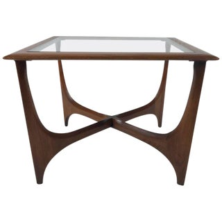 Sculptural Midcentury Modern Walnut and Glass End or Side Table by Lane, 1967
