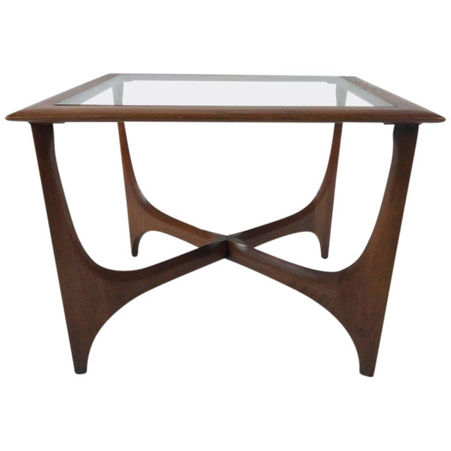 Sculptural Midcentury Modern Walnut and Glass End or Side Table by Lane, 1967 For Sale