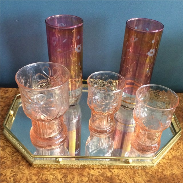 Brass Mirrored Tray With Pink Vintage Barware - Image 3 of 10