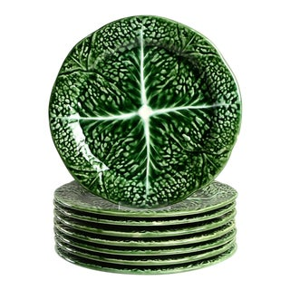 1970s Secla Cabbage Green Salad Plate - Set of 8 For Sale