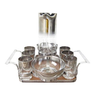 Vintage Silver Ombre Dorothy Thorpe Martini Cocktail Bar Set - 11 Pc. Set For Sale