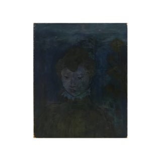 """American School Modernist """"Blue Woman"""" Painting For Sale"""