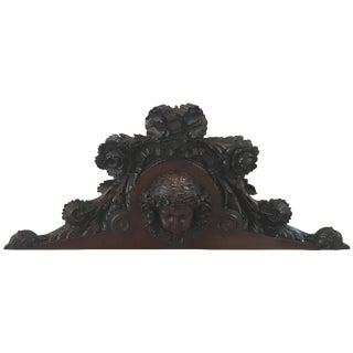 French Hand-Carved Mahogany Pediment Plaque For Sale