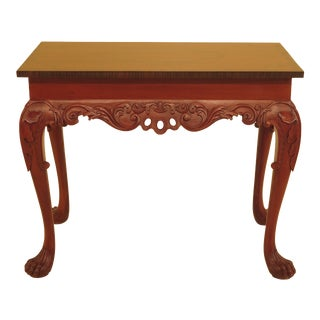 1980s Georgian Style Carved Mahogany Hall Table With Paw Feet For Sale