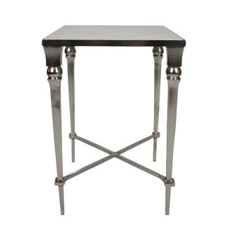 1950s Contemporary Nickel & Marble End Table For Sale