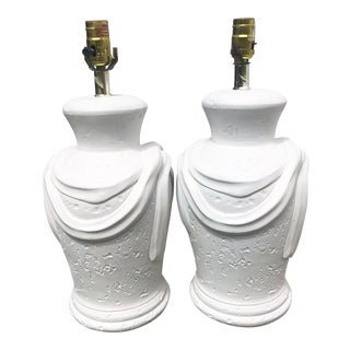 John Dickinson Style White Plaster Lamps-A Pair For Sale