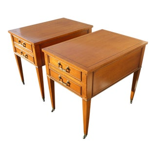 Pair Vintage Hekman Mid Century Modern Golden Brown End Tables ~ Nightstands For Sale