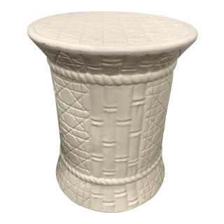 Faux Bamboo Porcelain Garden Stool Seat For Sale