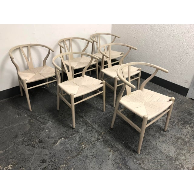 Early 21st Century Set of Six Mid-Century Hans Wegner Wishbone Chairs For Sale - Image 5 of 12