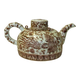 Chinese Oxblood Red White Porcelain Scenery Accent Teapot Display For Sale