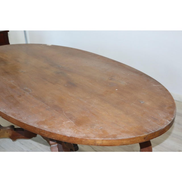 20th Century Italian Fratino Walnut Wood Oval Table With Lyre-Shaped Legs For Sale - Image 6 of 9
