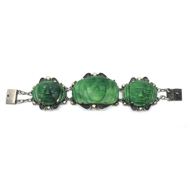 1930s Sterling Silver and Carved Green Onyx Mask Bracelet For Sale - Image 4 of 6
