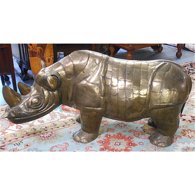 Sergio Bustamante (Mexico 1943-2014) Mid 20th century Brass Rhinoceros form. Limited edition, signed & numbered 11/100....