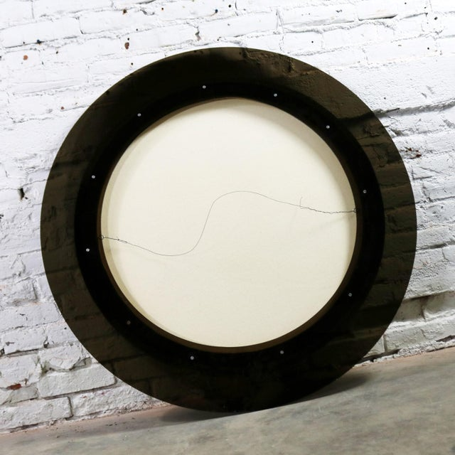 Abstract Round Acrylic Canvas Painting Mounted on Smoke Plexiglass by Ted R. Lownik For Sale - Image 9 of 13