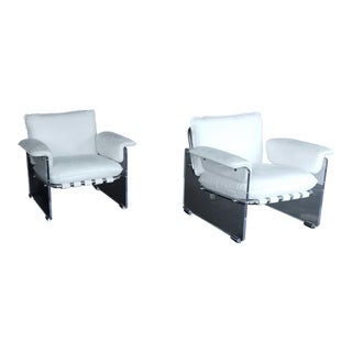 Agenta White Arm Chairs- A Pair For Sale