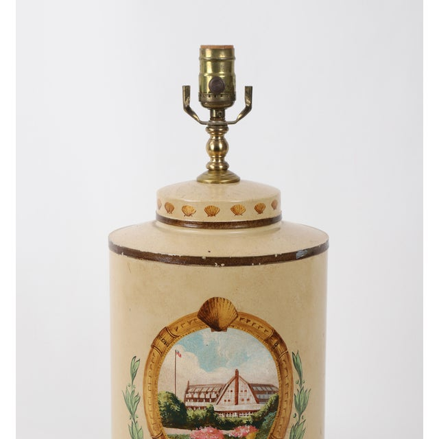 Antique White Hand Painted Hotel Landscape Design Tea Caddy Lamp For Sale - Image 8 of 10