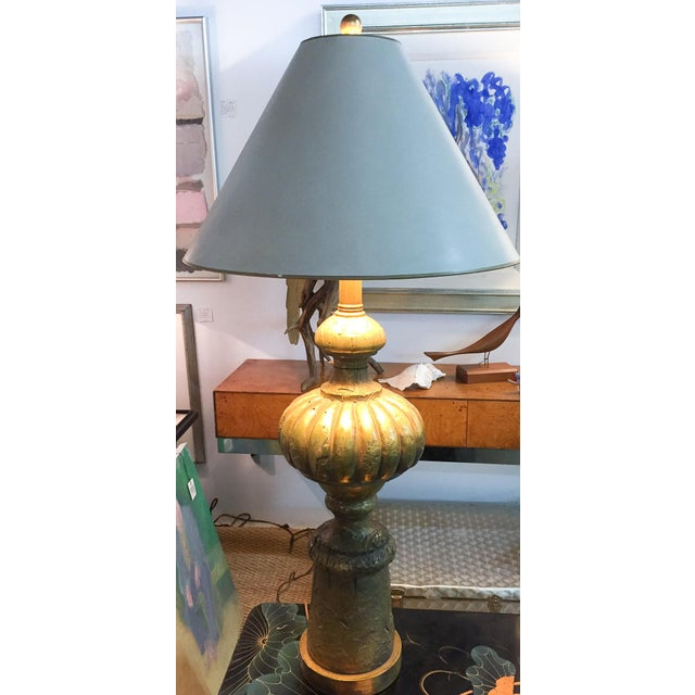 Mid Century Large Heavy Gilt Lamp For Sale In New York - Image 6 of 8