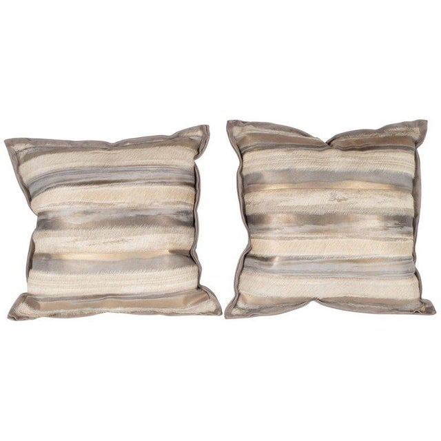 Pair of Custom Modernist Horsehide and Ultra Suede Banded Pillows in Metallic Tones For Sale - Image 10 of 10
