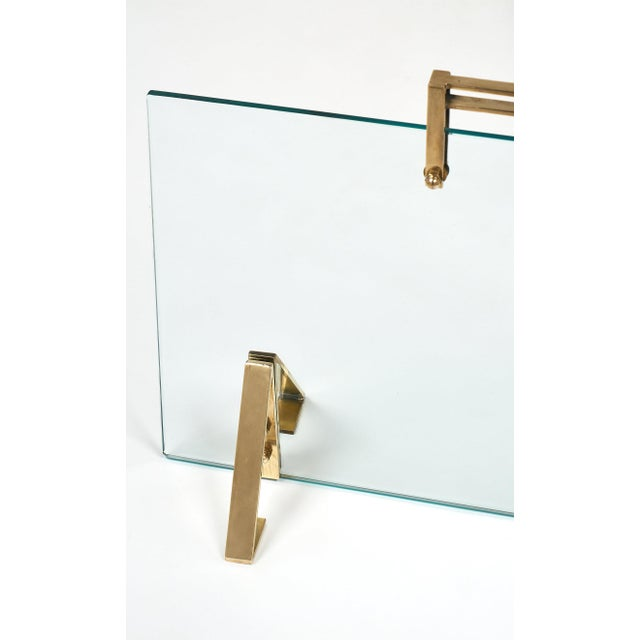 Jacques Adnet Mid-Century Glass & Brass Fire Screen attributed to Jacques Adnet For Sale - Image 4 of 10