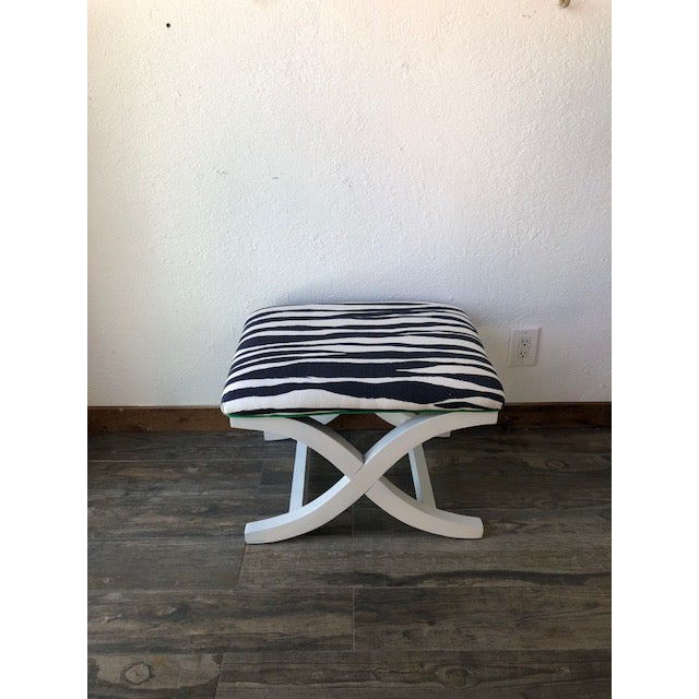 Chippendale X-Bench Kate Spade Mona Zebra Fabric For Sale - Image 3 of 3
