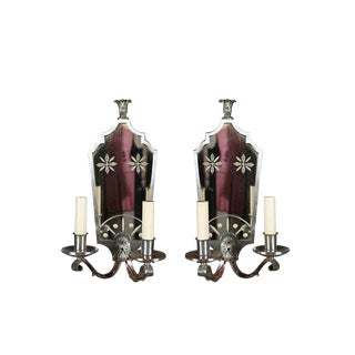 1940s Vintage Nickel and Mirror Sconces- a Pair For Sale