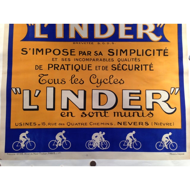 Vintage French L'Inder Bike Poster - Image 5 of 8