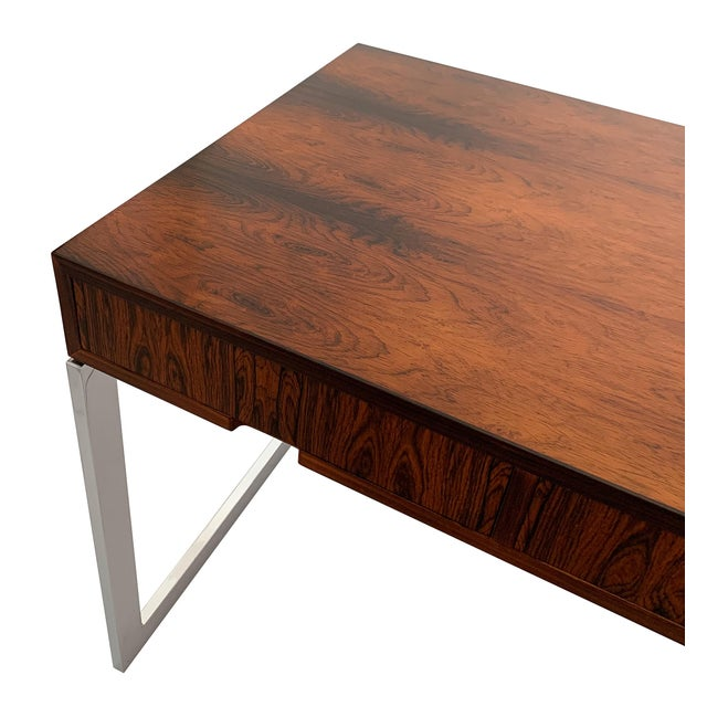 Milo Baughman Rosewood and Chrome Desk For Sale - Image 11 of 13