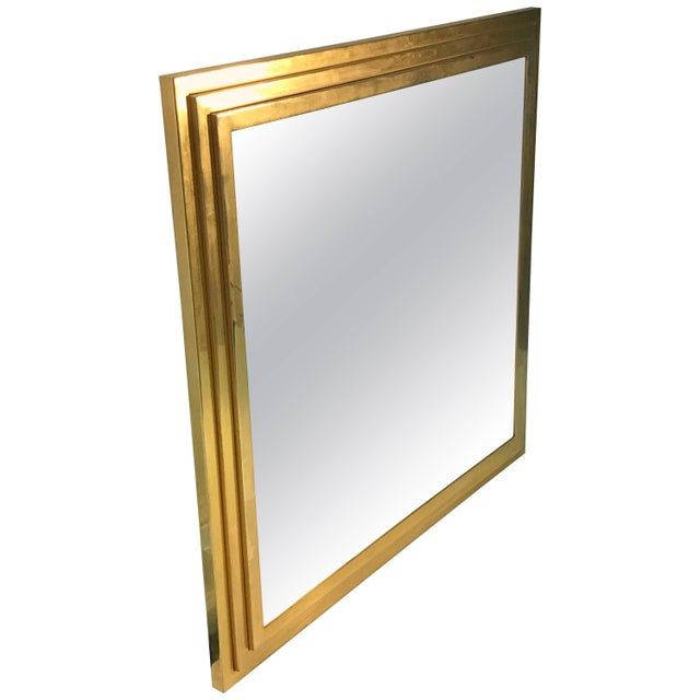 Modern Square Gold Tone Framed Metal Mirror For Sale - Image 10 of 10