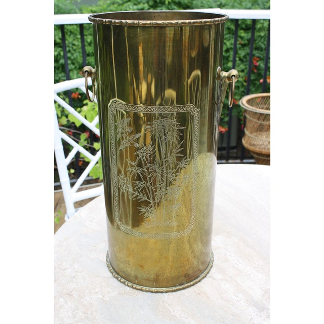 Mid-Century Brass Chinoiserie Umbrella Stand - Image 5 of 9