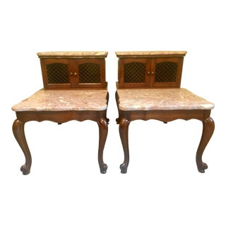 Antique Rose Gold Marble End Tables - a Pair For Sale
