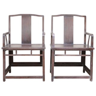 Ceruse Finished Empirical, Far-Eastern Influenced Chairs - a Pair
